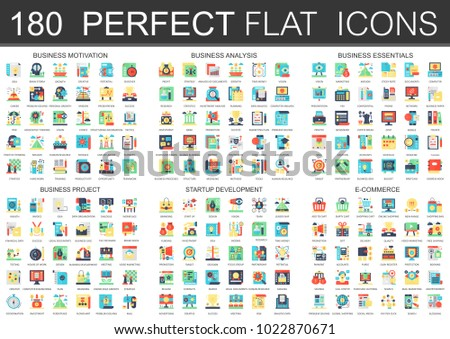 180 vector complex flat icons concept symbols of business motivation, analysis, essentials, business project, startup development and e commerce. Web infographic icon design.