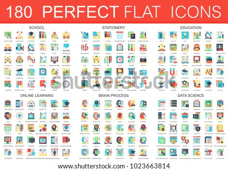 180 vector complex flat icons concept symbols of school, stationery, education, online learning, brain process, data science icons. Web infographic icon design.