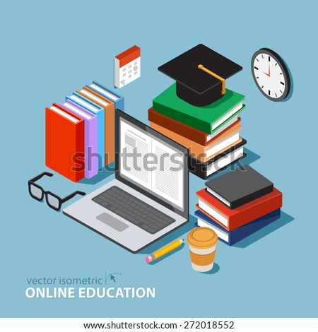 Vector concept for online education flat 3d isometric for 3d flat design online