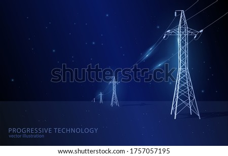 Vector concept illustration, on dark blue background with stars, line of electric pylons, symbol of electricity, modernization and progress. Foto stock ©