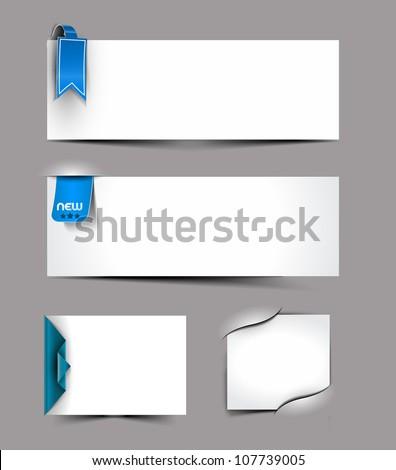 Vector corner ribbons blank cards set design