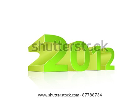 2012, Vector 3D numbers in green plastic on reflective surface