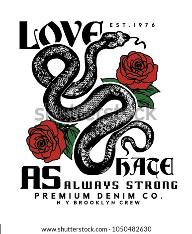vector design for tee print with snake and rose drawn