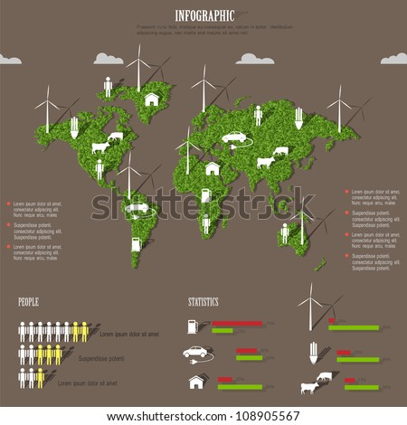 Vector Eco infographic elements. Stylized world map