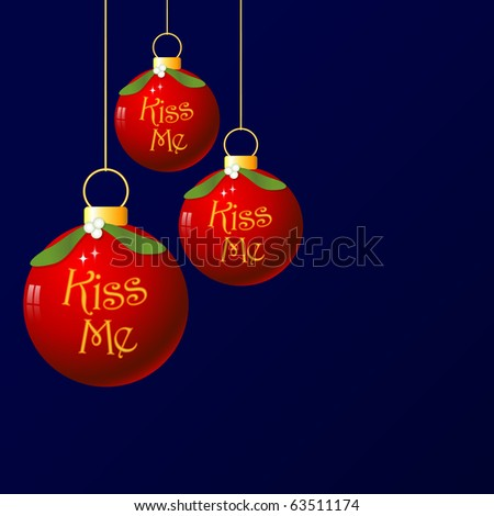 (Vector eps10) A fun christmas bauble with mistletoe decoration. As it's traditional to kiss under the mistletoe, I added the words 'Kiss Me'!