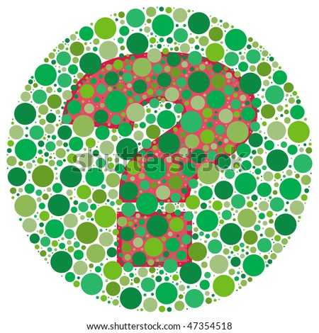 (Vector - eps 10) Inspired by colour blind tests, the question mark is behind green dots. Can you see it?!