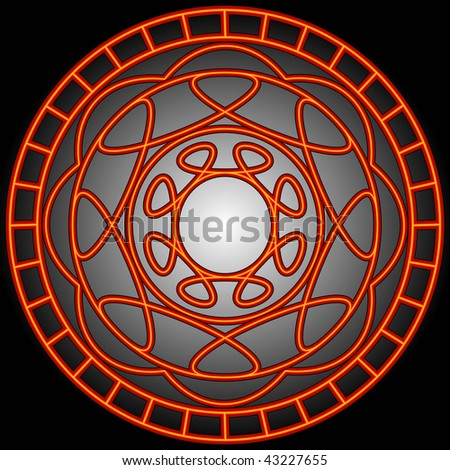 (Vector- eps10) Orange swirly patterns in a circle.  A Jpg version is also available.