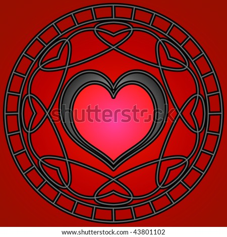 (Vector-eps 10) Red/black hearts and metallic swirly patterns in a circle. A Jpg version is also available.