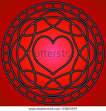 (Vector-eps 10) Red heart and metallic swirly patterns in a circle.