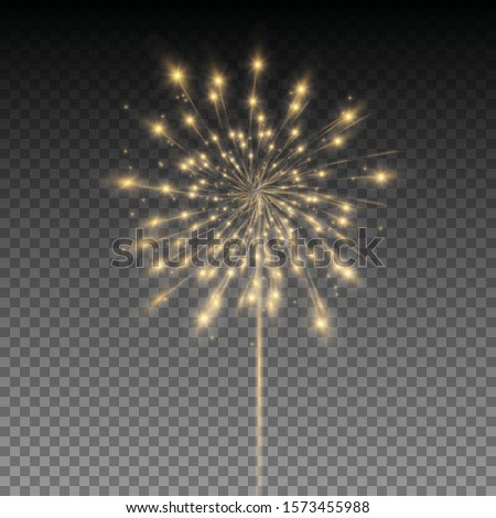 Vector festive fireworks.Festive Golden Salute Burst on a Transparent Background