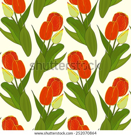 Vector floral seamless pattern with colorful bouquets of tulips on a pale yellow background. Eps 10.