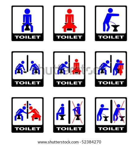6 vector funny toilet sign