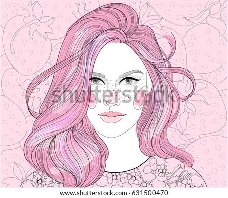 vector girl on strawberry