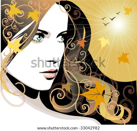 Vector girl with autumn leaves in long hair