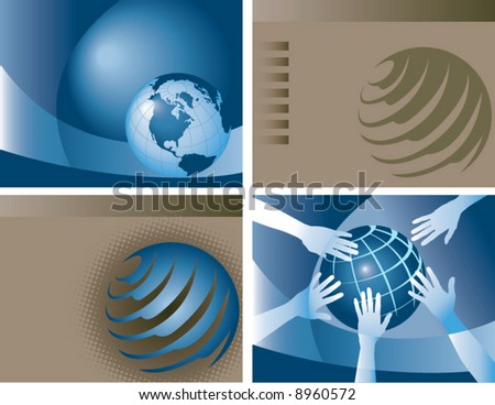 4 vector globe backgrounds