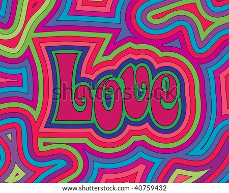 (Vector) Groovy psychedelic Love. A Jpg version is also available.