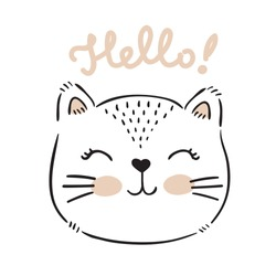 Vector hand drawn cute cat's face saying Hello. Isolated illustration with lettering on white background