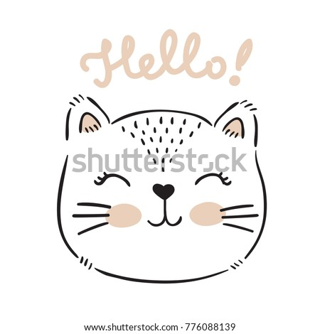vector hand drawn cute cat's