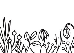 Vector hand-drawn flowers, leaves, berries isolated on white background. Border with с for the design of postcards, website, post on social networks, wedding design or logo.