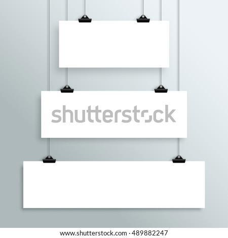 3 Vector Hanging Blank White Banners From Clips