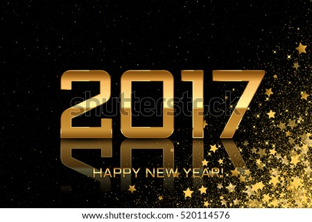 2017 - Vector Happy New Year black background with stars #520114576