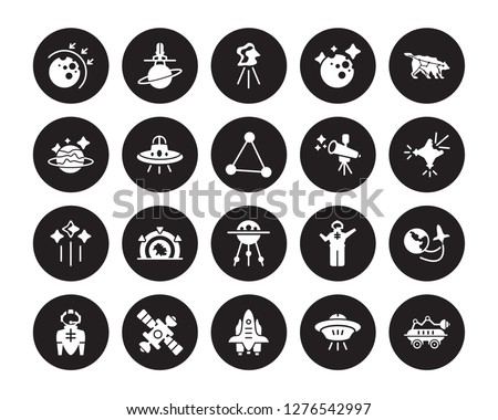 20 vector icon set : aerosphere, Space ship, shuttle, station, suit, Ursa major, Telescope, Sputnik, Stars, UFO, aerolite isolated on black background
