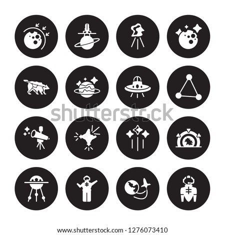 16 vector icon set : aerosphere, Space travel, Spaceman, Sputnik, Stargate, suit, Ursa major, Telescope, UFO isolated on black background