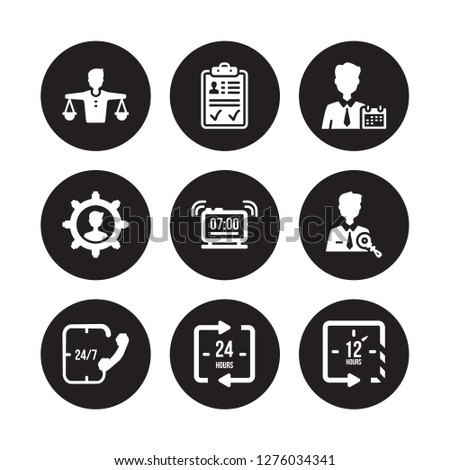 9 vector icon set : Balance in human resources, Approved, 24/7, Administrator, Alarm, Appointment, Appearance, 24 hours isolated on black background