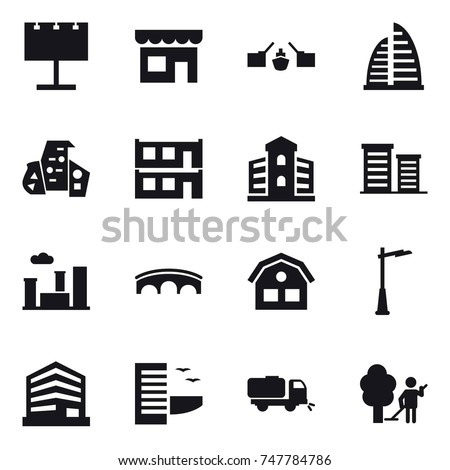 16 vector icon set : billboard, shop, drawbridge, skyscraper, modern architecture, modular house, building, district, city, bridge, house, outdoor light, hotel, sweeper, garden cleaning