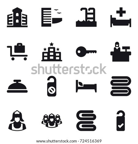 16 vector icon set : building, hotel, pool, hospital, baggage trolley, key, reception, service bell, do not distrub, bed, towel, cleaner, outsource, stack of towels, please clean