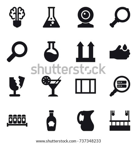16 vector icon set   bulb brain