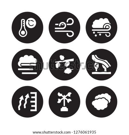 9 vector icon set : Celsius, Breeze, atmospheric pressure, Aurora, Autumn, Blizzard, blanket of fog, Anemometer isolated on black background