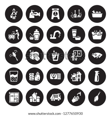 25 vector icon set : Charwoman, Hand wash, Garbage truck, Cleaning House, Window, Hot water, Window cleaner, Clothes Cleaning, Emulsion, Dusting isolated on black background.