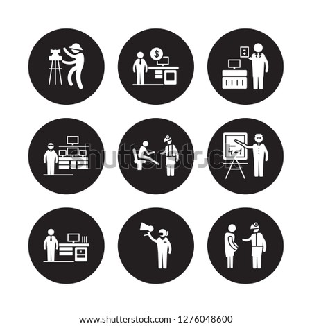 9 vector icon set : Civil Engineer, Financial Advisor, Actuary, Mathematician, Podiatrist, Accountant, Information Security Analyst, Marketing Manager isolated on black background