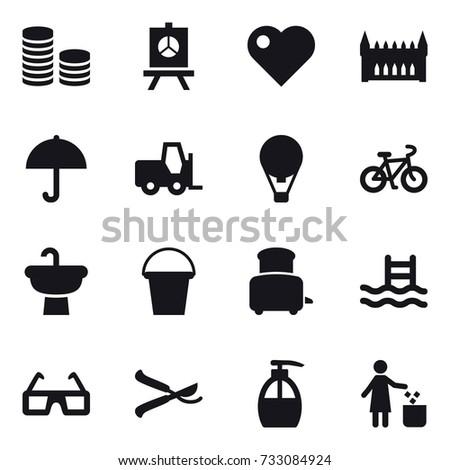 16 vector icon set   coin stack