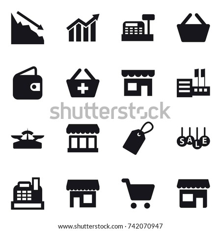 16 vector icon set : crisis, diagram, cashbox, basket, wallet, add to basket, shop, store, scales, market, label, sale