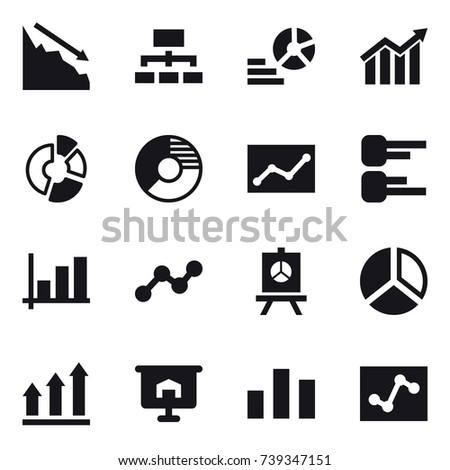 16 vector icon set : crisis, hierarchy, diagram, circle diagram, statistic, graph, presentation, graph up