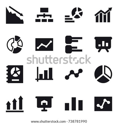 16 vector icon set : crisis, hierarchy, diagram, circle diagram, statistic, presentation, annual report, graph, graph up