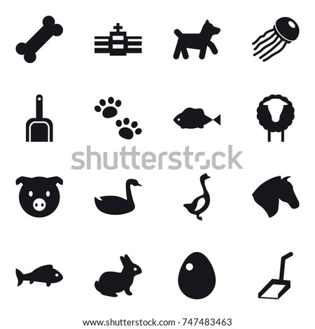 16 vector icon set : dog, jellyfish, scoop, pets, sheep, pig, goose, horse, fish, rabbit, egg