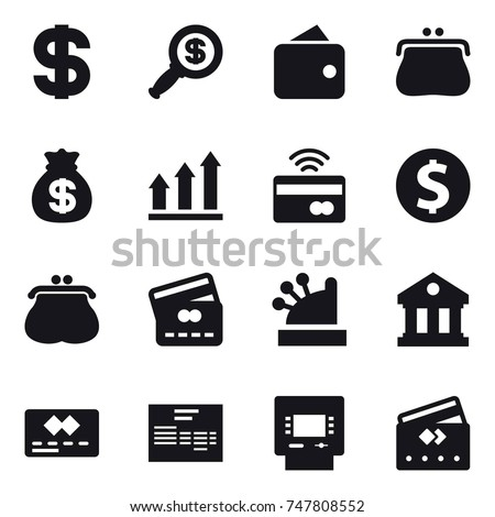 16 vector icon set : dollar, dollar magnifier, wallet, purse, money bag, graph up, tap to pay, dollar coin, credit card, cashbox, library, atm