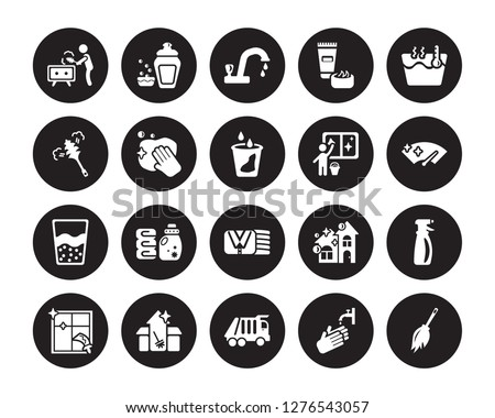 20 vector icon set : Dusting, Hand wash, Garbage truck, Cleaning House, Window, Hot water, Window cleaner, Clothes Cleaning, Emulsion, Wiping, Tap isolated on black background