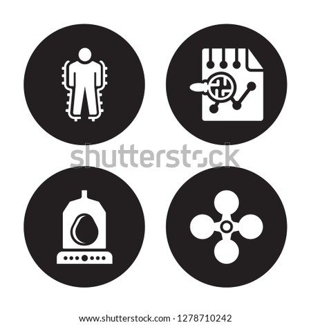 4 vector icon set : Exoskeleton, Egg incubator, Evaluation, Drone isolated on black background
