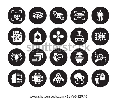 20 vector icon set : Face recognition, Cloud computing, Intelligence, Cpu, Cyborg, Exoskeleton, Driverless autonomous car, Deformity, Difference engine isolated on black background