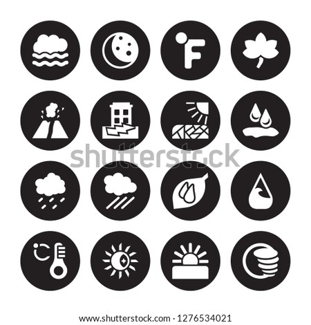 16 vector icon set : Foggy, Dawn, Daytime, degree, deluge, Cyclone, Eruption, Drizzle, Drought isolated on black background