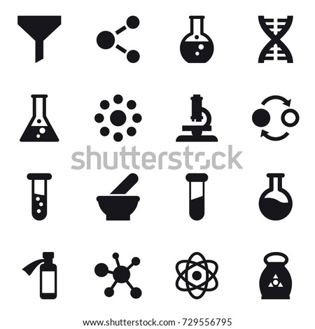 16 vector icon set : funnel, molecule, round flask, dna, flask, round around, microscope, quantum bond, vial, fertilizer