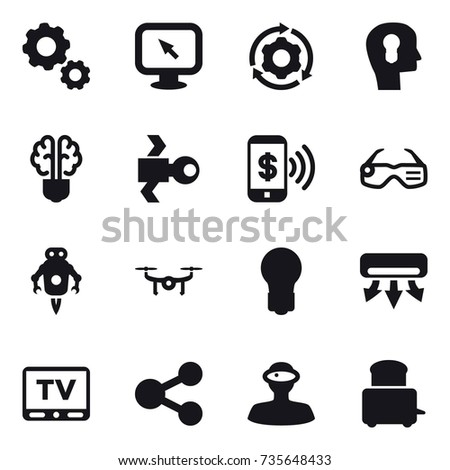 16 vector icon set   gear