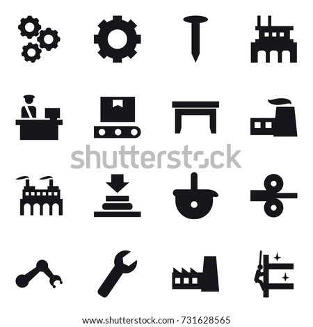 16 vector icon set : gear, nail, factory, table, wrench, skyscrapers cleaning