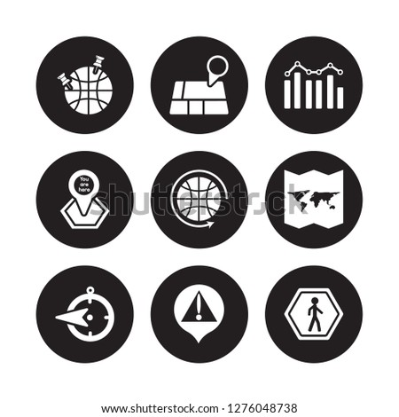 9 vector icon set : GeoAnalytics, Geolocation, West, World Map Folded, Worldwide, Demographics, You are here, Warning isolated on black background