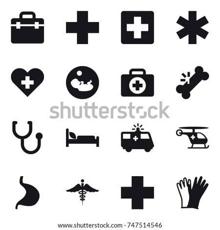 16 vector icon set : gloves