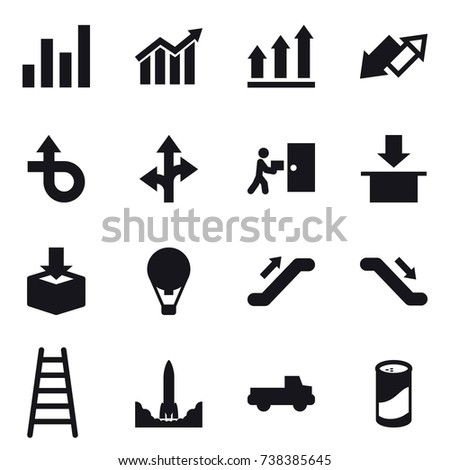 16 vector icon set : graph, diagram, graph up, up down arrow, air ballon, escalator, stairs, pickup, cleanser powder